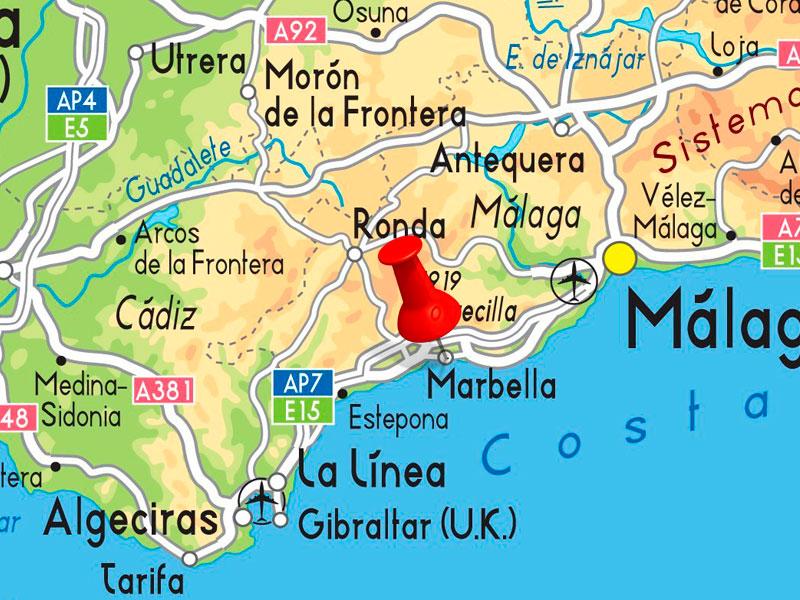 Marbella Map Of Spain.Where Is Marbella Delpaso Car Hire